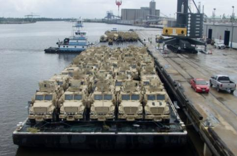 Military Vehicles in Port